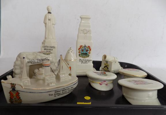 9x Crested Ware WW1 pieces
