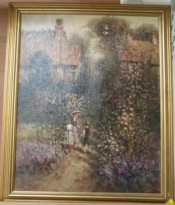 Genuine oil painting signed by Laszlo Ritter - Garden scene with children