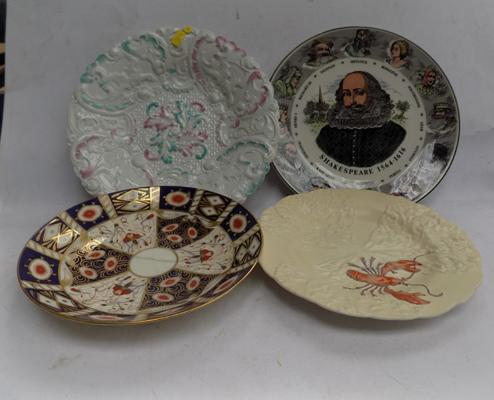 Four collectable plates, incl. Minton damaged, Meissen, Rococo