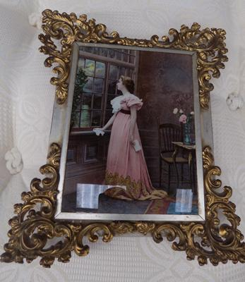 Brass framed picture, marked 1898 - Brass is Frail
