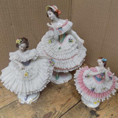 "3 Volkstedt Dresden figures 18"", 8"" and 7"" - damage to larger one on frills, slight damage to middle one, no damage to 7"""