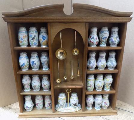Wooden wall hanging spice rack with Lenox ceramic spice jars
