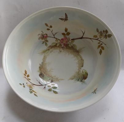 Antique Japanese hand thrown plumb blossom wash bowl circa 1850, 15 1/2 inches in diameter
