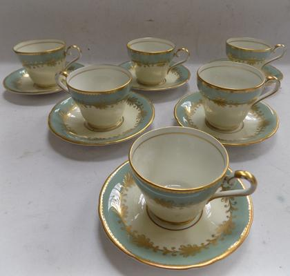 6x Vintage Aynsley cups & saucers (1 cup repaired)
