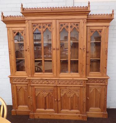 Large Gothic style farmhouse, pine glass topped dresser