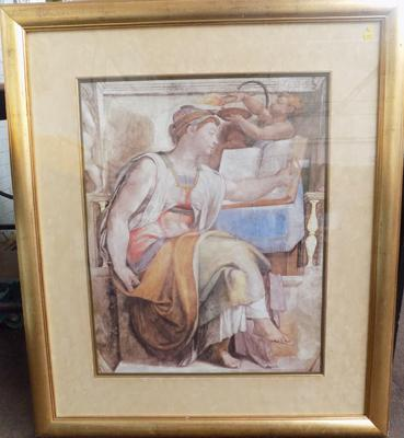 Large classical scene print in gold frame