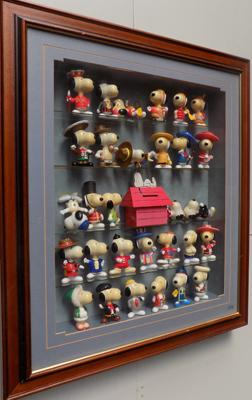 Snoopy collection in display case