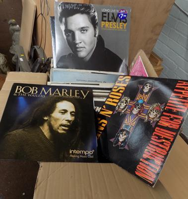 Box of records incl. Guns and Roses, Elvis, Meat Loaf etc.