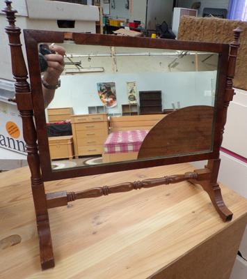 Small wooden dressing table mirror