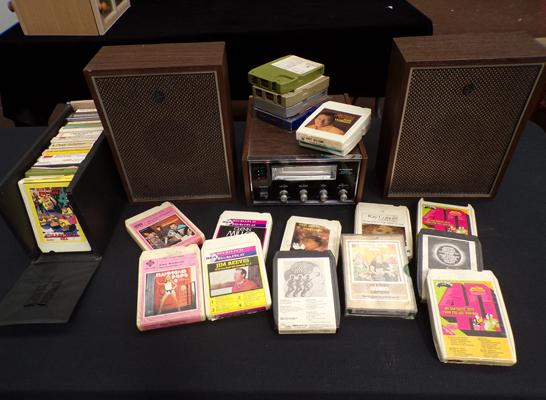 Pioneer 8 track player + speaker & two boxes of 8 track cassettes - W/O