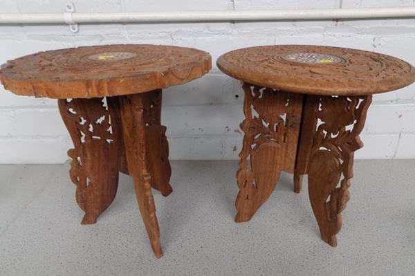 Pair of Indian hand carved cedar tables/collapsible, inlaid with mother of pearl