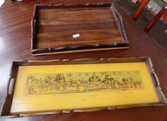 Two wooden butler's trays