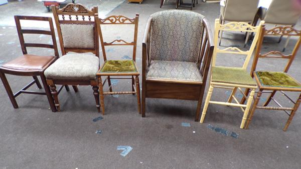 Job lot of chairs, some bedroom plus a upholstered commode