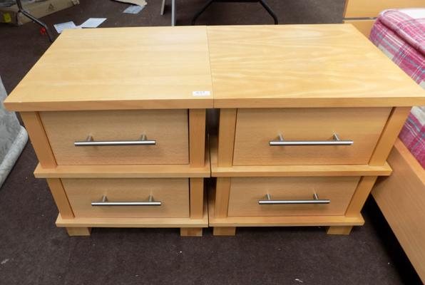 Pair of light maple colour bedside units