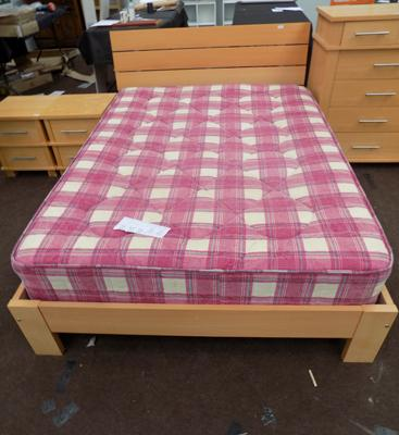Light maple colour double bed and mattress