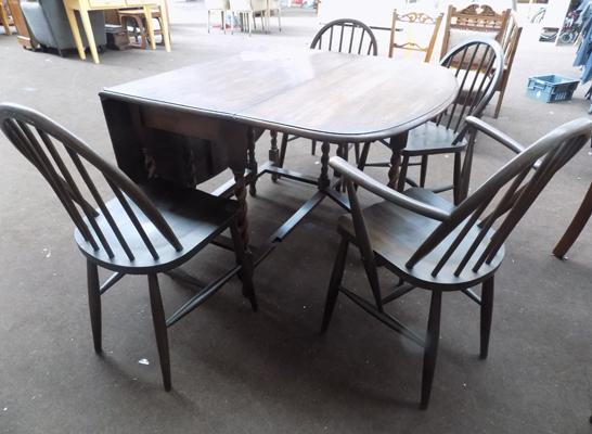 Solid oak Ercol quaker chairs x4 & table