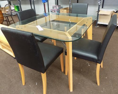 Danish glass top table and 4 chairs
