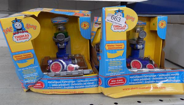 4 Thomas the Tank Engine diecast play sets (damaged boxes)