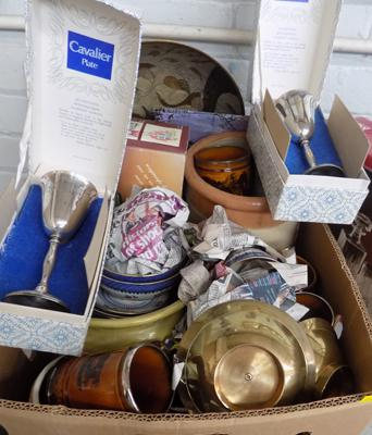 Box of antique & vintage ceramics, incl. silver rimmed tankards + 1930's Booth's part tea set