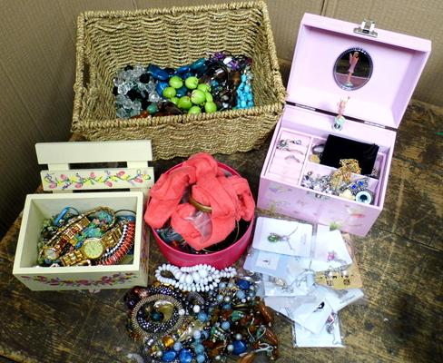 Large quantity of costume jewellery and musical jewellery box