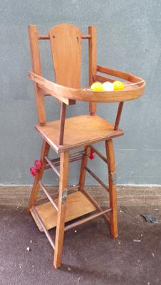 Doll's vintage toy high chair - approx. 30 inches high