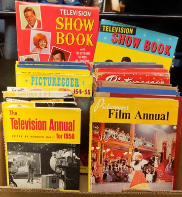 Box of vintage films and TV books