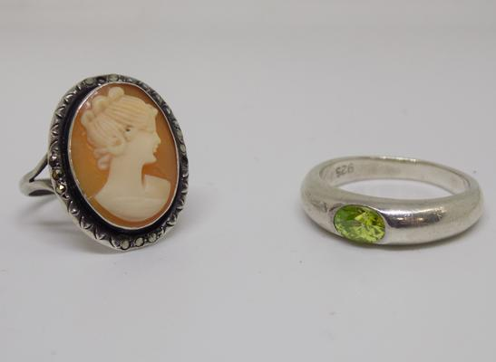 2 silver rings - 1 green stone and 1 cameo