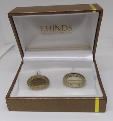 Hallmarked silver cufflinks in box