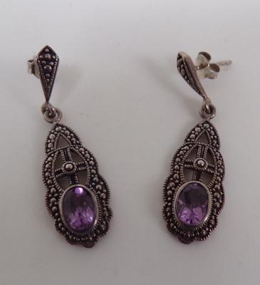 Pair of silver amethyst and marcasite earrings