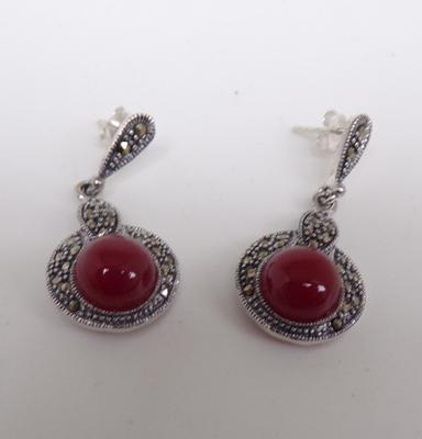 Pair of silver cornelian and marcasite earrings
