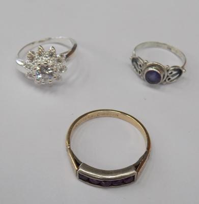 2 silver rings + 1 fully hallmarked gold plated silver ring