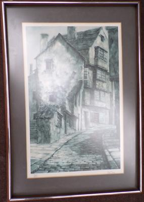 Limited edition framed print of 'The Crooked House' by McBurney