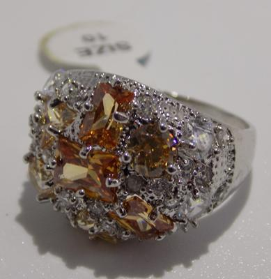 Silver orange stone ring - new with tags