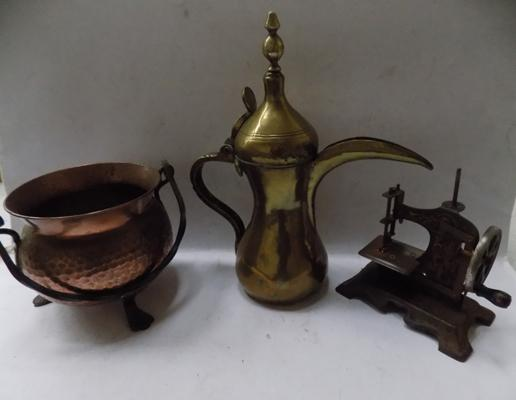 3 metal items - model sewing machine, coffee pot & copper pan
