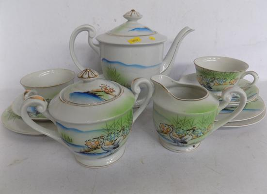 Japanese hand painted tea for two set