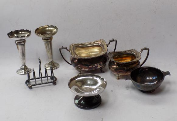 Silver plate items some Fattorini