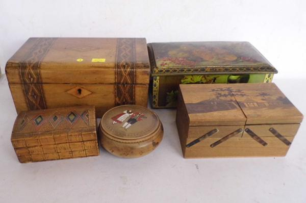 Assortment of wooden boxes + decorative tin