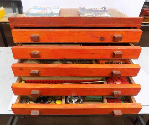 Large box of Meccano - 6 drawers and magazines full of Meccano 1920's, 30's and 50's
