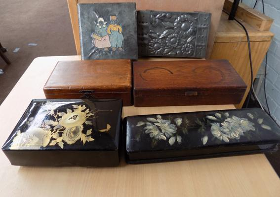Six collector's boxes incl. papier mache + pewter topped