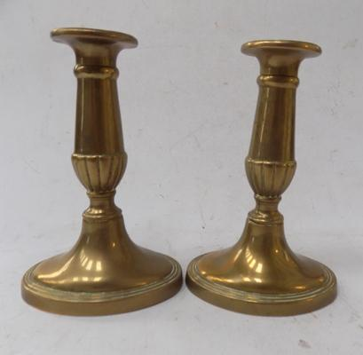 Pair of heavy ornate brass candlesticks