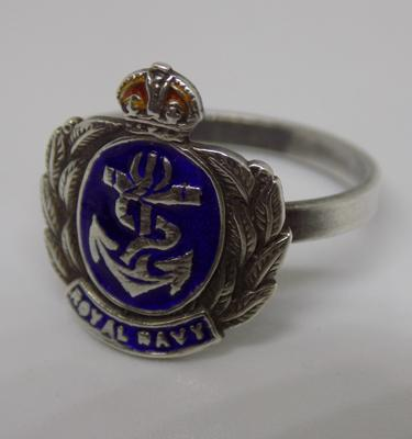 Silver enamel Royal Navy sweetheart ring WW2 era