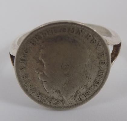 Silver three pence ring 1920