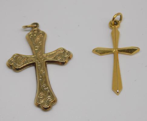 2 x 9ct gold cross pendants