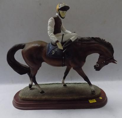 Horse and Jockey figurine on plinth