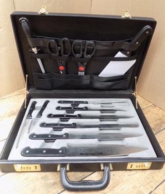 Stainless 'Rostfrei Inox' chef's knife set - complete, in combination brief case