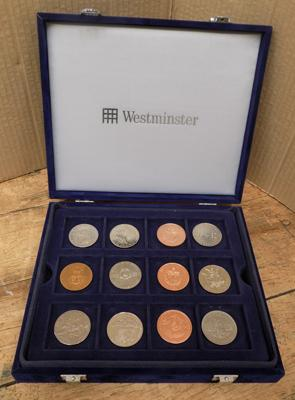 12 coins incl. Westminster coin collectors case