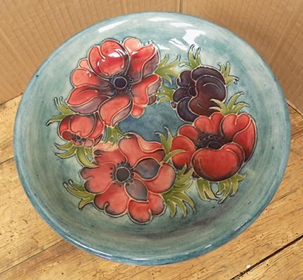 Moorcroft compote footed pedestal bowl, signature on base