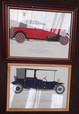 2 framed prints of vintage cars
