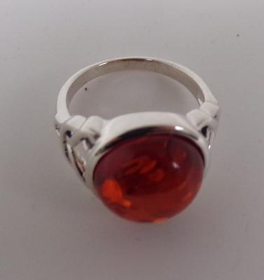 Silver and amber set ring