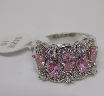 Silver pink stone ring - new with tags